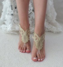 wedding photo - Gold lace barefoot sandals wedding barefoot Flexible wrist lace sandals Beach wedding barefoot sandals beach Wedding sandals Bridal