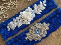 wedding photo - Wedding Garter Set, White flowers Royal Blue wedding garter, Bridal Gift Garter set Rhinestone garter lace garter Rustic Garter toss Garter