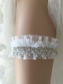 wedding photo - Bridal lace garter, ivory tulle rhinestone wedding garter, Garter, White garter, pearl garter, Rustic Garter,