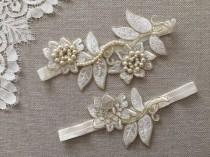 wedding photo - İvory gold Bridal lace garter, Pearl wedding garter, Bridasl Gift Garter set, ivory garter, pearl garter, Rustic Garter,