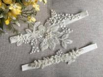 wedding photo - Bridal lace garter, wedding garter, Bridasl Gift Garter set, ivory garter, pearl garter, Rustic Garter,