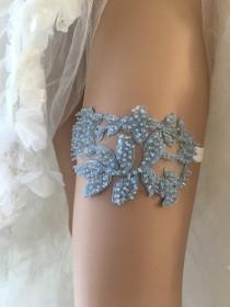 wedding photo - Blue Wedding Garter Blue bridal garter, Bridal Gift Garter Crystal Beaded garter lace garter Rustic Garter toss Garter