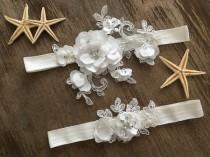 wedding photo - Bridal lace garter, wedding garter, Bridal Gift Garter set, ivory garter, pearl garter, Rustic Garter, 3D flowers garter set