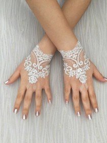 wedding photo - Ivory Silver Frame Wedding Gloves, Bridal Gloves, lace gloves, Handmade gloves, bride glove bridal gloves lace gloves fingerless gloves