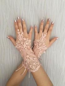 wedding photo - Wedding Gloves, Bridal Gloves, Blush lace gloves, Handmade gloves, Goth bride glove bridal gloves lace gloves fingerless gloves, Steampunk