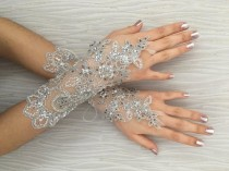 wedding photo - OOAK Silver bead embroidered Wedding Gloves, Bridal Gloves, lace gloves, bride glove bridal gloves lace gloves fingerless gloves