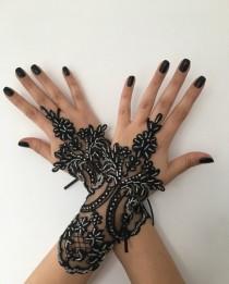 wedding photo - Wedding Gloves, Bridal Gloves, Black lace gloves, Handmade gloves, Goth bride glove bridal gloves lace gloves fingerless gloves, Steampunk