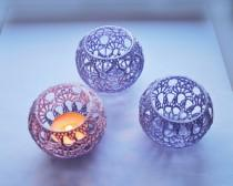 wedding photo - Wedding Table CenterpieceVotive Holders Crochet Candle Holders Set of 5, Wedding Lighting, Lavender Table Decor, Party Wedding Decoration