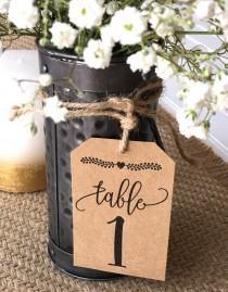 wedding photo - Rustic table numbers. wedding table numbers, paper table numbers, barn wedding, wedding tags, table tags, DIY wedding, mason jar tags