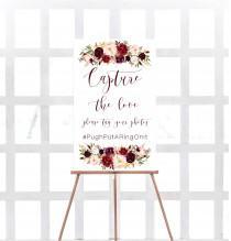 wedding photo - Marsala hashtag sign, Wedding snap sign, Capture the love,  Printable wedding sign, Marsala social media sign, Hashtag sign, Burgundy, Carry