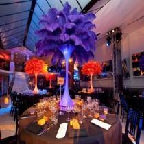 wedding photo - Discount item 100pcs ostrich feather for wedding table centerpiece,feather centerpiece,purple ostrich feathers,wedding table decoration AAA