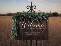 wedding photo - Custom Wood Welcome to Our Beginning Sign Personalized for Weddings Receptions And Events Handmade Welcome Sign