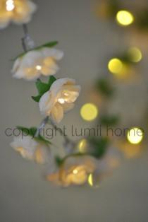 wedding photo - Antique cream Rose Flower Fairy string warm white LED Lights, bedroom decoration vintage wedding decor valentines girlfriend present gift
