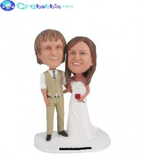 wedding photo - custom wedding cake toppers bride and groom