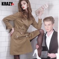 wedding photo - Vintage military temperature both grace pure cotton double breasted with belt trench coat 6977 - Bonny YZOZO Boutique Store