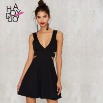 wedding photo - Vogue Sexy Open Back A-line Low Cut Zipper Up Dress - Bonny YZOZO Boutique Store