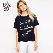 wedding photo - Must-have Oversized Vogue Printed Solid Color Alphabet Summer Casual T-shirt - Bonny YZOZO Boutique Store
