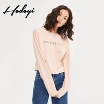 wedding photo - Must-have Vogue Simple Printed Scoop Neck Alphabet One Color Fall Casual 9/10 Sleeves Hoodie - Bonny YZOZO Boutique Store