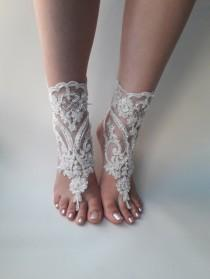 wedding photo - Ivory barefoot sandals, Bridal shoes,  Lace sandals, Wedding anklet, Beach wedding lace sandals, Bridesmaid gift, Beach Shoes