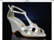 wedding photo - Wedding Shoes - T Strap Wedge Sandal- Custom Colors- PBTU2.5 Women's Bridal Wedge Shoes