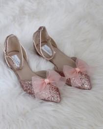wedding photo - Women Wedding Shoes, Bridesmaid Shoes - ROSE GOLD ROCK Glitter pointy toe flats with organza bow