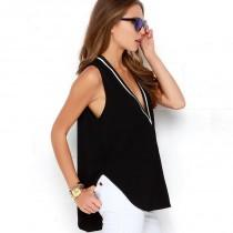 wedding photo - Street style sexy v neck contrast color ribbed stitching long before short after loose sleeveless t shirt - Bonny YZOZO Boutique Store