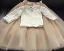 wedding photo - Ivory Lace Shirt, Baby Girls Lace Tops ,ivory Lace Long Sleeve Shirt, Girl Lace Long Sleeve Top