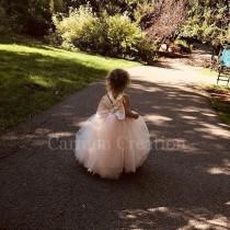wedding photo - Mini Bride Flower Girl Dress Blush Pink NB