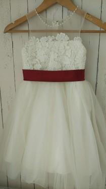 wedding photo - Ivory Lace tulle flower girl dress with satin burgundy sash