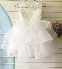 wedding photo - Lace Flower Girl Dress, Tulle Layered Flower Girl Dress, First Communion Dress, Birthday Girl Dress, Tutu Flower Girl Dress