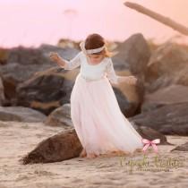 wedding photo - Blush flower girl dress, toddler flower girl dresses, lace flower girl dress, tulle flower girl dress, vintage lace flower girl
