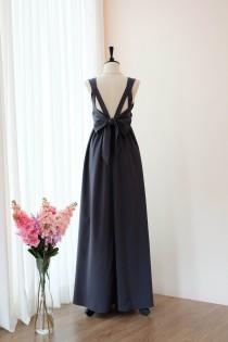 wedding photo - Charcoal gray dress Long Bridesmaid dress Wedding Dress Long Prom dress Party dress Cocktail dress Maxi dress Evening Gown