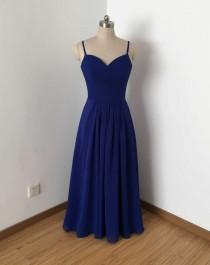 wedding photo - Spaghetti Straps Royal Blue Chiffon Long Bridesmaid Dress