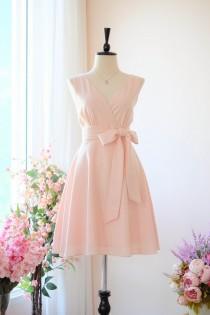 wedding photo - Pink blush dress Pink bridesmaid dress Vintage prom dress Pink party dress Wedding guest dress Summer sundress Autumn dress Casual dress