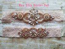 wedding photo - Sale -Wedding Garter and Toss Garter-Crystal Rhinestones & Pearls with Rose Gold Setting - BLUSH Garter Set - Style G37001RG