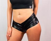 wedding photo - Faux Leather Booty Shorts, Wet Look, vinyl booty shorts, stretchy sexy hot pans, rave booty shorts