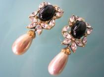 wedding photo - Vintage Attwood & Sawyer Clip On Earrings, Pearl Drop Earrings, Black Clip Ons, Black Bridal Jewelry, Attwood And Sawyer Jewelry