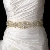 wedding photo - Faux Pearl Rhinestone & Bugle Beaded Wedding Sash Bridal Belt