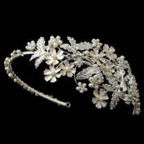 wedding photo - Light Silver Rhinestone & Ivory Pearl Floral Side Headband