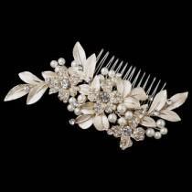 wedding photo - Gold Ivory Pearl & Rhinestone Flower Leaf Hair Comb