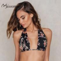 wedding photo - Sexy Printed Halter Lift Up Beach Swimsuit Bikini Top - Bonny YZOZO Boutique Store