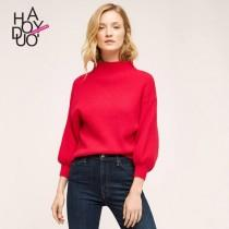wedding photo - Must-have Fall 9/10 Sleeves Red Knitted Sweater Top Sweater - Bonny YZOZO Boutique Store