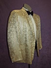wedding photo - 50s Tux Jacket 41S- 42S Vintage Cream & Gold  Brocade Metallic Silk Floral Custom Bespoke Tuxedo by Sita's British Crown Colony of Hong Kong