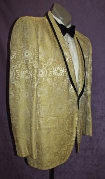 wedding photo - 50s Tux Jacket 38R -40RYellow Cream Brocade Floral w/Black Trim Vintage Tuxedo Early 60s 80s  Motown Rat Pack Dinner After Six Lord West