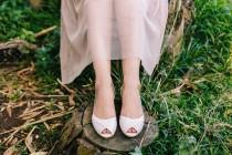 wedding photo - Ingrid Blush Peep Toe Bridal Kitten Heel, Vegan Summer Wedding Low Heeled Shoe, Mother of the Bride Heels