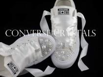 wedding photo - Wedding Bridal Custom Mono White Converse - All Sizes inc Half sizes