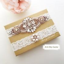 wedding photo - wedding garter rose gold, bridal garter rose gold, ivory rose gold garter, rose gold garters, garter belt rose gold, rhinestone garter