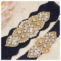 wedding photo - Bridal Garters Sets, Pearls And Gold Rhinestones Garter ,Stretch Navy Lace Bridal Garter, Wedding Garters Sets  YS852913