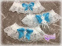 wedding photo - Turquoise blue wedding garters Blue wedding garters Turquoise sparkle wedding garters Beach wedding garters Disney blue wedding garters
