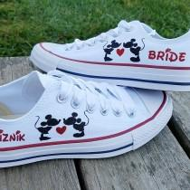 wedding photo - Wedding Converse, Mickey and Minnie, Kissing Heart, Name Date, Mrs Bride, Satin Laces, Personalized Bride Shoes